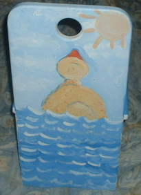 childs handpainted chair duck theme
